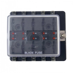 ATC Blade Fuse Box With Ground - Marine, Boat or Automotive - 10 Way