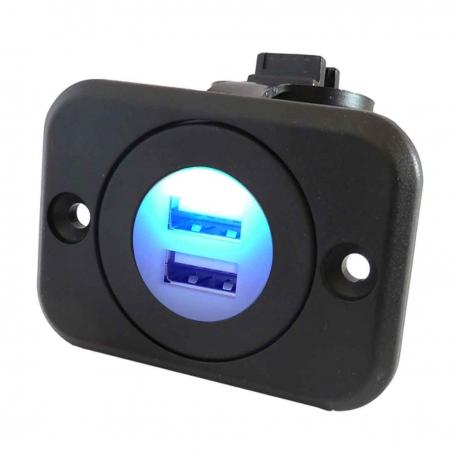 12V Waterproof Dual Port USB Socket (12V / 24V Compatible) with Flush Mount Bracket