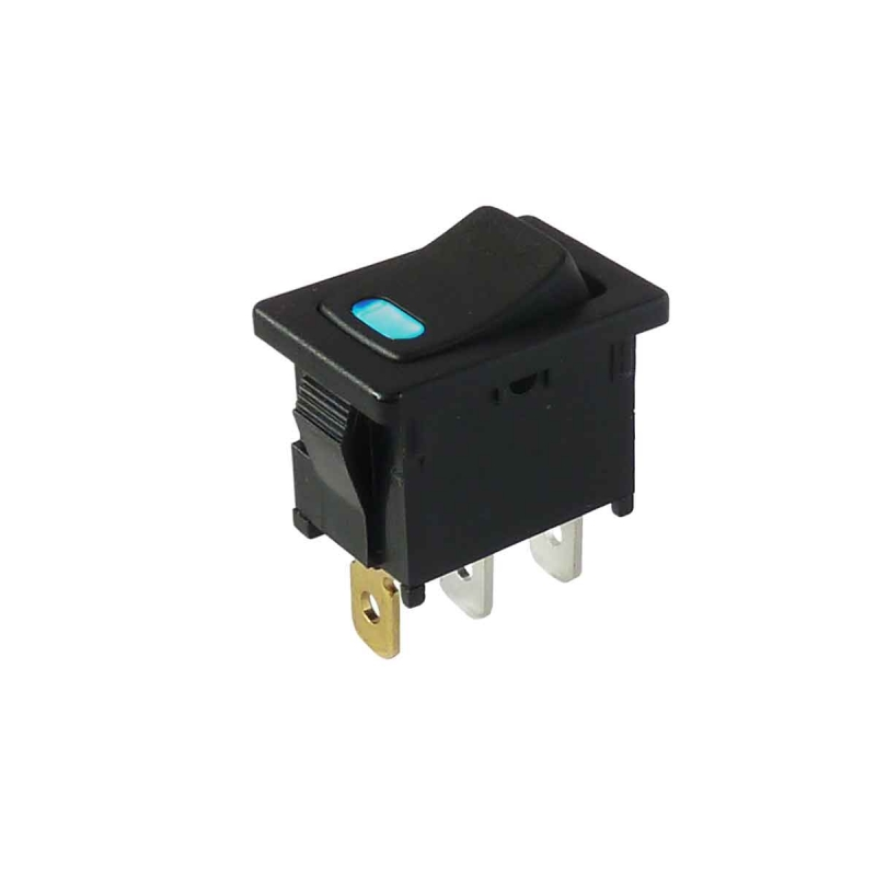Miniature Rocker Switch With Blue Led 12vdc