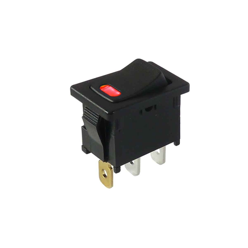Interruptor DPDT, en en no iluminado panel 16 A negro Rocker Switch - OFF -
