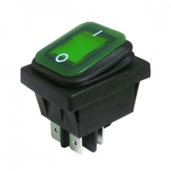 Green Illuminated Double Pole Rocker Switch 12 & 24V, IP65