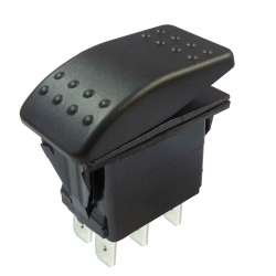 Double Pole Marine Rocker Switch On-Off-On 12-24V, IP67