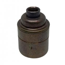 "Old English Brass E27 Lamp Holder (Plain Body) 1/2"" Entrance"