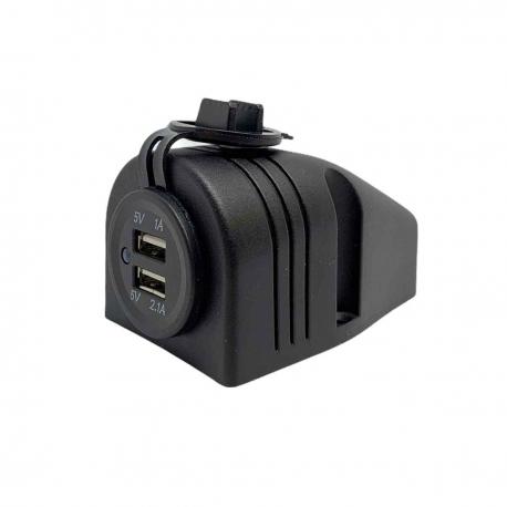 3.1A Waterproof Dual Port USB Socket (12V / 24V Compatible) with Surface Mount Bracket