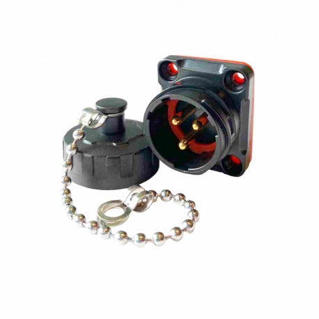 IP67 Waterproof 3 Pole Male Socket Panel Mount Connector with Cap