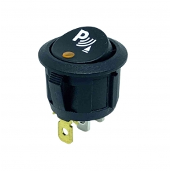 On-Off Single Pole Round Rocker Switch   Amber 12-24V with Print