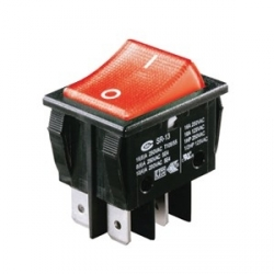 Red Illuminated Double Pole Rocker Switch 240V