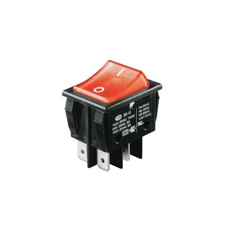 Red Illuminated Double Pole Rocker Switch 240V
