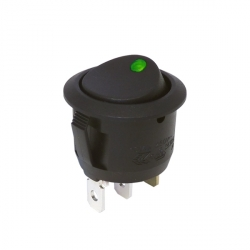 On-Off Single Pole Round Rocker Switch | Green 20A 12V