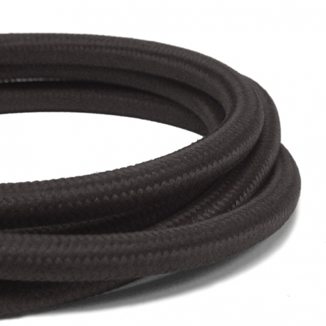 Deep Black Fabric Cable   3 Core Fabric Flex