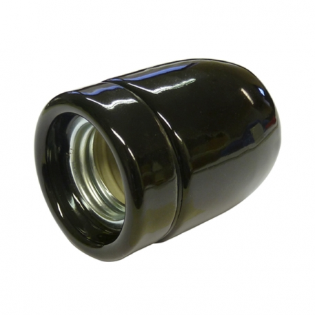 Black High Gloss Ceramic E27 Lamp Holder