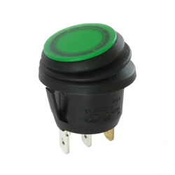 12V Waterproof Round Rocker Switch - Green Illuminated
