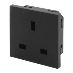 UK BS1363 Euro Module Panel Mount Socket Black